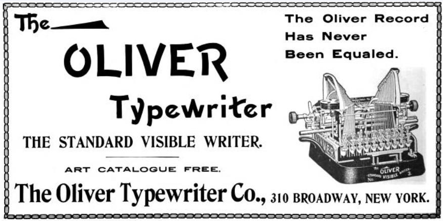 Oliver Typewriter Ad from 1904